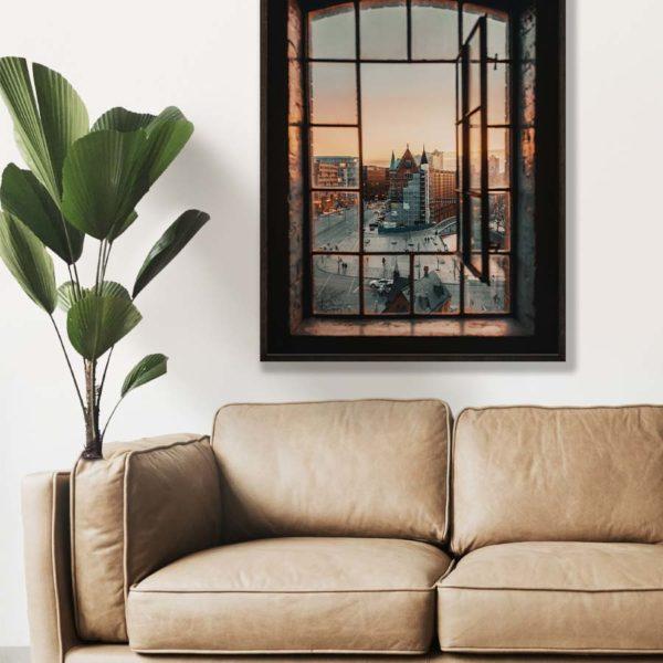 tombaenre-wandbild-wohndeko-kunstdruck-hamburg-bilder-poster-alu-verbund-ausblick-speicherstadt-fenster-1