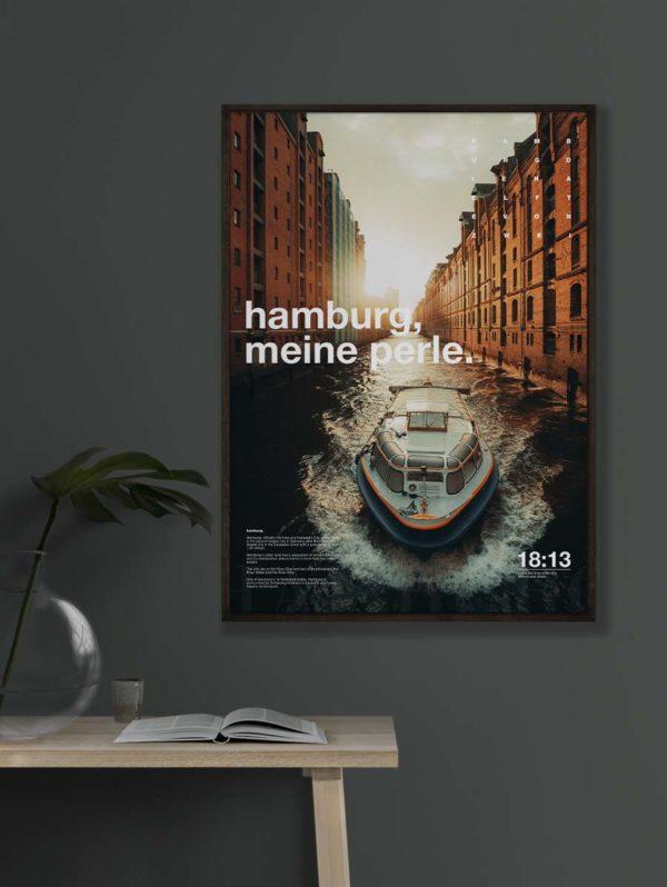 Poster Hamburg Speicherstadt Boot im Fleet